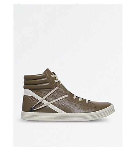 RICK OWENS Thrashersneak leather high-top trainers (Khaki