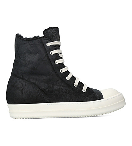 RICK OWENS Classic shearling leather high-top trainers (Black