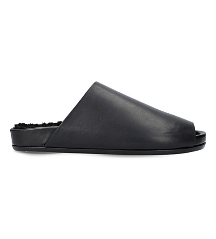 RICK OWENS Leather shearling sandals (Black