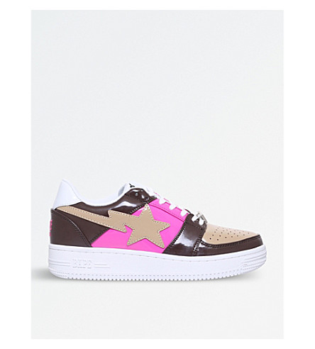 A BATHING APE Bape Sta patent-leather trainers (Brown/oth
