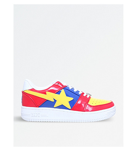 A BATHING APE Bape Sta patent-leather trainers (Red+comb