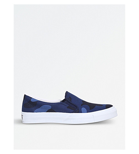 A BATHING APE Colour Camo canvas skate shoes (Navy