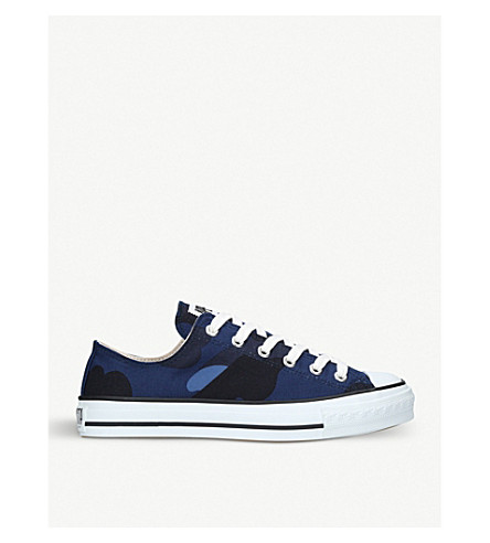 A BATHING APE Color Camo low-top printed canvas trainers (Navy