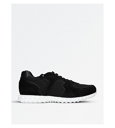 VALENTINO Hive suede and mesh trainers (Black