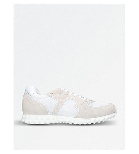 VALENTINO Hive suede and mesh trainers (White