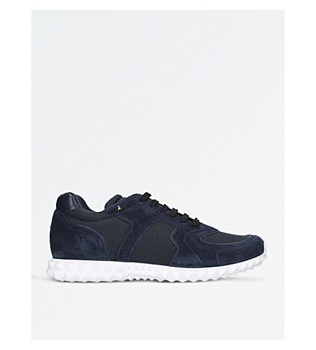 VALENTINO Hive suede and mesh trainers (Navy