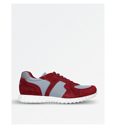 VALENTINO Hive suede and mesh trainers (Wine+comb