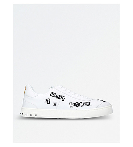 VALENTINO Valentino x Jamie Reid Fly Crew Punk Poem leather trainers (White
