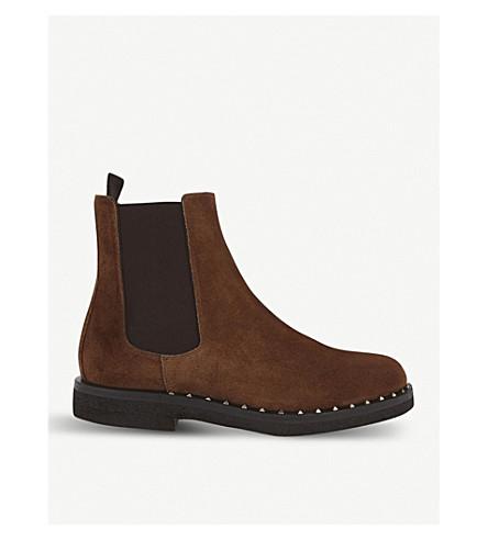 VALENTINO 点缀的麂皮绒切尔西靴子 (棕色