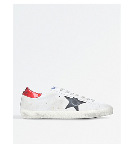 GOLDEN GOOSE Superstar leather trainers (White/red