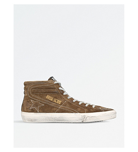 GOLDEN GOOSE Slide suede high-tops (Khaki