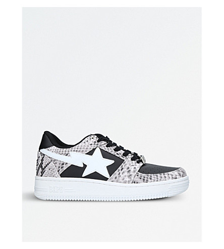 A BATHING APE BAPE STA snake-embossed leather trainers (Black