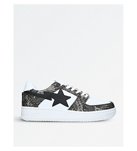 A BATHING APE BAPE STA snake-embossed leather trainers (Brown