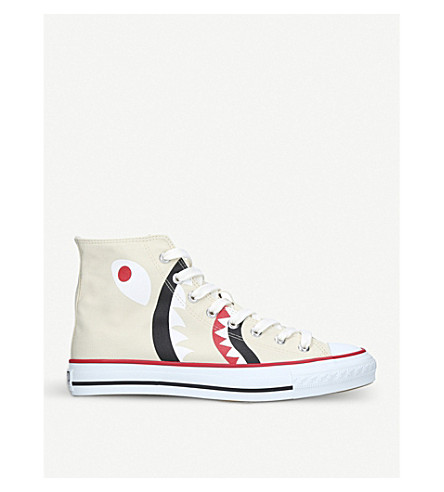 A BATHING APE Shark-motif canvas trainers (White