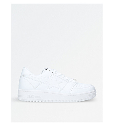 A BATHING APE BAPE STA low-top leather trainers (White