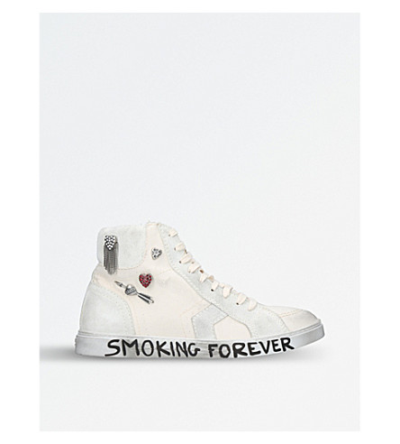 SAINT LAURENT Antibe 05 Smoking Forever leather trainers (White