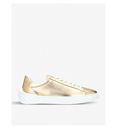 VERSACE Back Medusa metallic-leather trainers (Gold