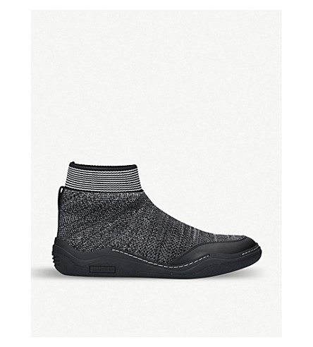 LANVIN Knitted high-top trainers (Blk/grey