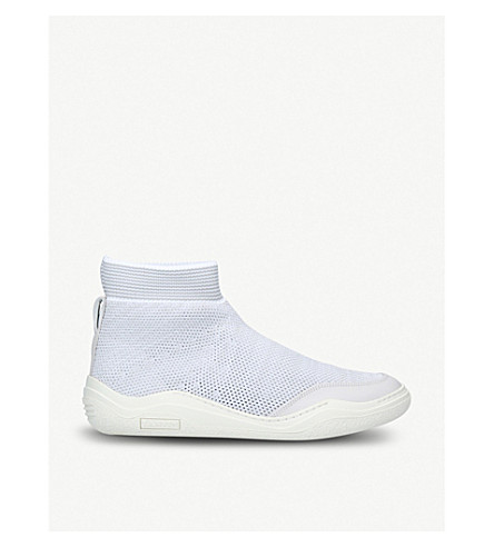LANVIN Knitted mesh high-top trainers (Grey