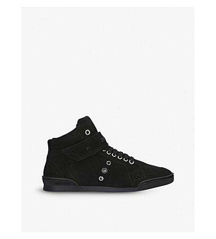 JIMMY CHOO Lewis Lo suede hi-top trainers (Black