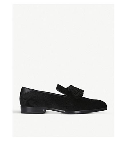 JIMMY CHOO Foxley 流苏天鹅绒便鞋 (黑色