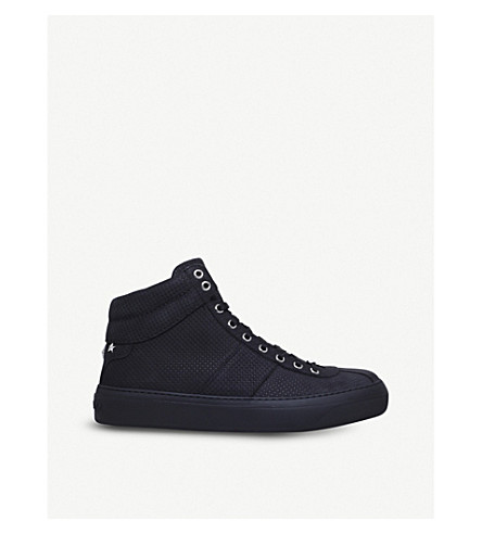 JIMMY CHOO Belgravi perforated leather hi-top trainers (Blk/other