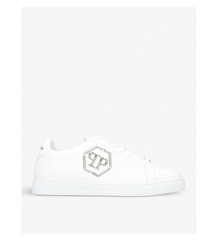 PHILIPP PLEIN Over The Top embellished leather low-top trainers (White