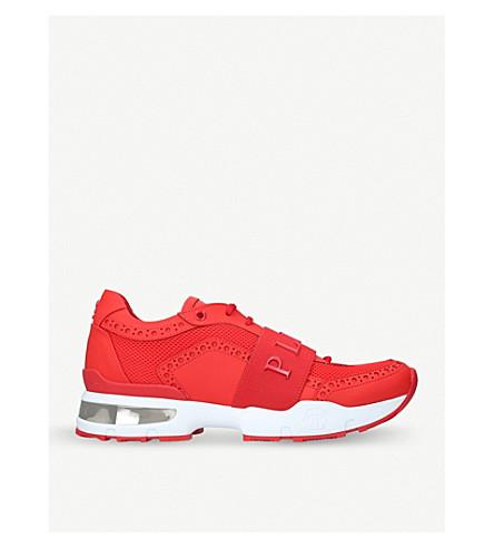 PHILIPP PLEIN Akoya Plein leather runner trainers (Red