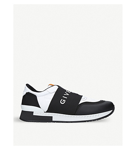 GIVENCHY 活性转轮镶板革和氯丁橡胶运动鞋 (白色