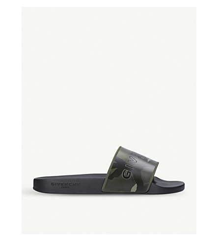 GIVENCHY Camouflage-print slide sandals (Green+comb