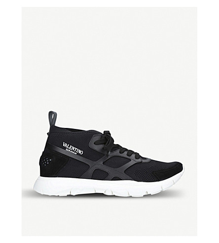 VALENTINO Sound High stretch-knit and leather trainers (Black