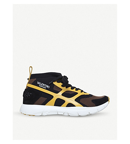 VALENTINO Sound High stretch-knit and leather trainers (Yellow