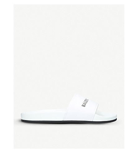 BALENCIAGA Logo-print leather sliders (White