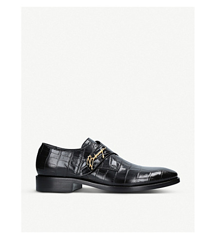 BALENCIAGA Logo-detail croc-embossed leather monk shoes (Black