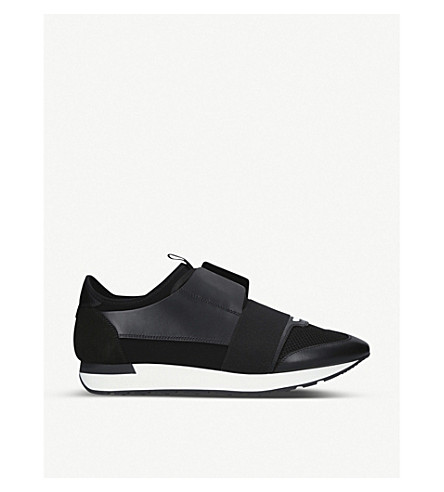 BALENCIAGA Race Runners leather and mesh trainers (Black