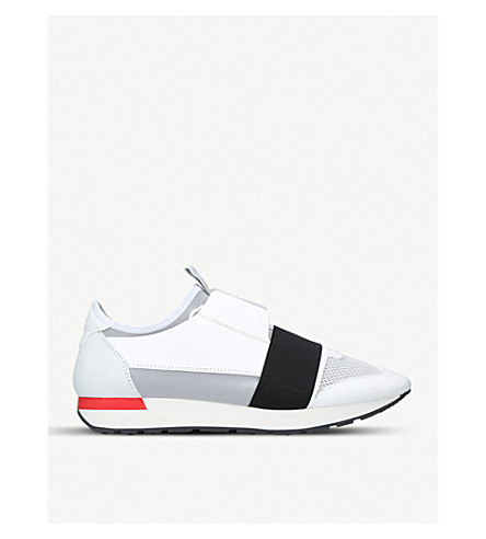BALENCIAGA Race Runners leather, suede and mesh trainers (White/blk