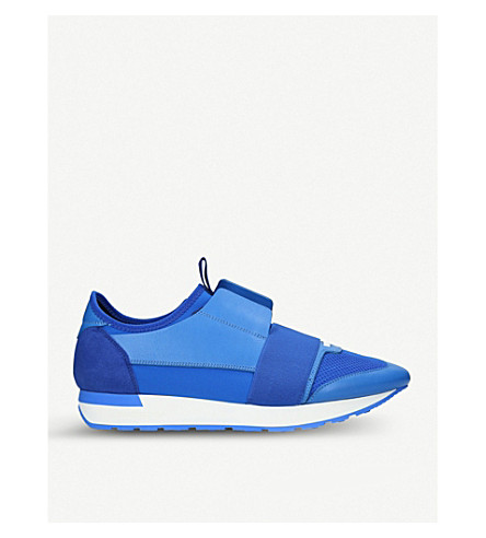 BALENCIAGA Race Runners leather and mesh trainers (Blue