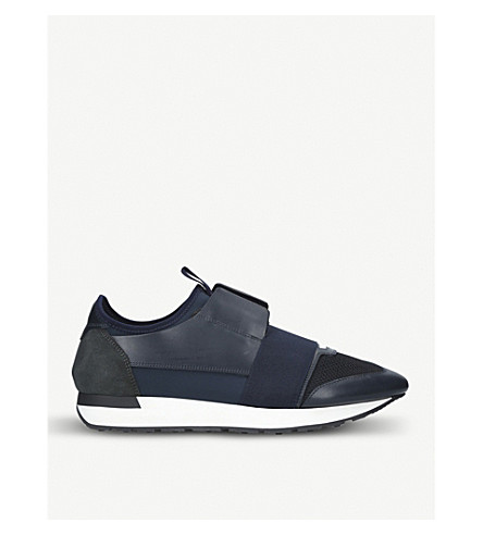 BALENCIAGA Race Runners leather, neoprene, jersey and mesh low-top trainers (Navy