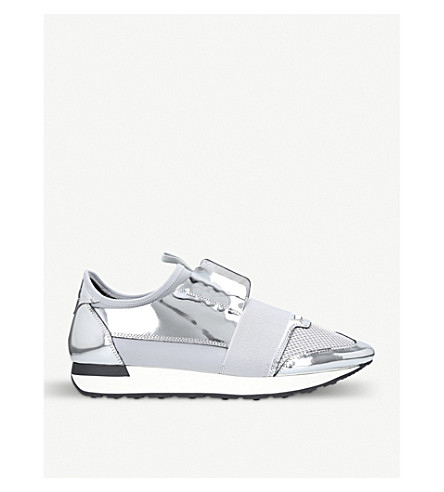 BALENCIAGA Race Runners metallic leather and mesh trainers (Silver