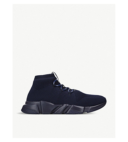 60b64959f526 BALENCIAGA Speed woven lace-up mid-top trainers (Navy