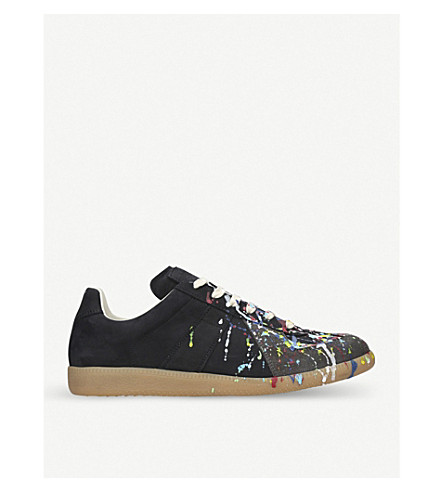 MAISON MARGIELA Replica Paint Splash cotton trainers (Black