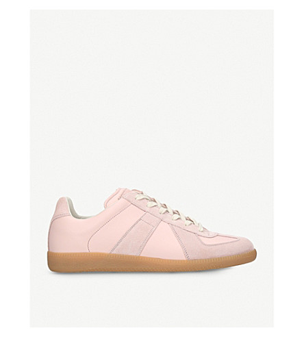 MAISON MARGIELA Replica leather and suede trainers (Pale+pink