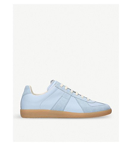 MAISON MARGIELA Replica leather and suede trainers (Pale+blue