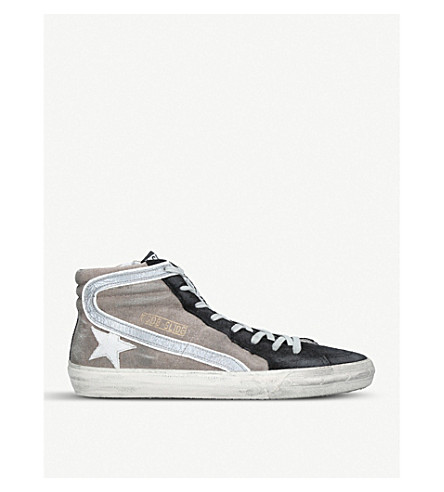 GOLDEN GOOSE Slide Hi Top suede trainers (Grey/d.cmb