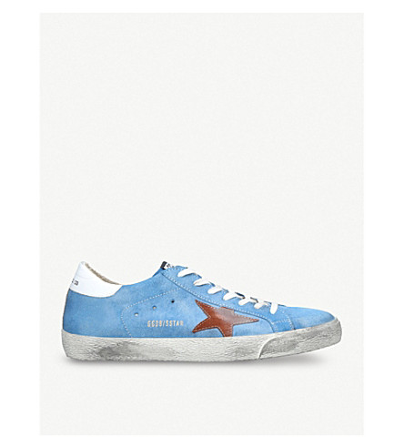 GOLDEN GOOSE Superstar distressed suede trainers (Blue