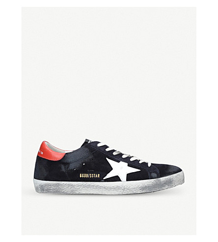 GOLDEN GOOSE Superstar distressed suede trainers (Navy