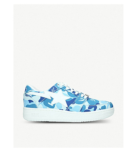 A BATHING APE BAPE STA camouflage-print canvas trainers (Blue