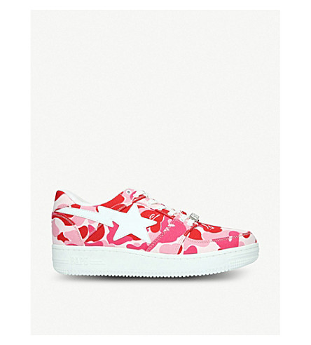 A BATHING APE BAPE STA camouflage-print canvas trainers (Pink
