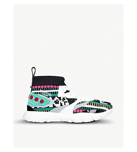 VALENTINO Heroes embroidery leather trainers (White/comb