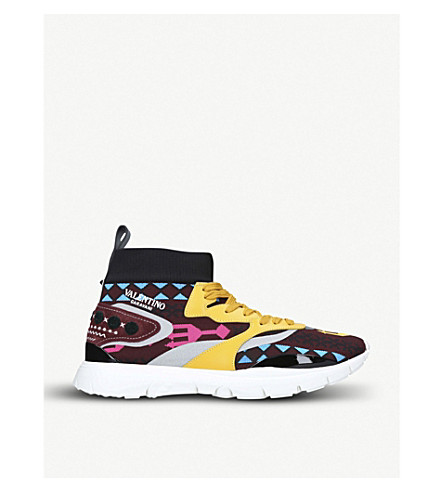 VALENTINO Heroes Runner embroidered knitted high-top trainers (Yellow